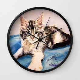 Original Pet Animals Artwork (non-profit) - Maine Coon Kitten Cat Pastel Wall Clock