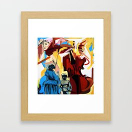 Expressive Cello People Painting Framed Art Print