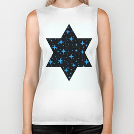 Bright Blue  Stars in Space Biker Tank