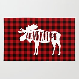 Red Buffalo Plaid Moose ADVENTURE typography Rug