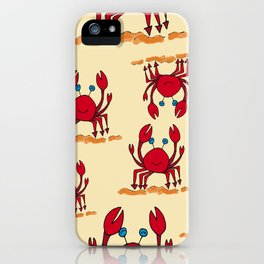 Crabs in yellow sand by Jana Sigüenza iPhone Case