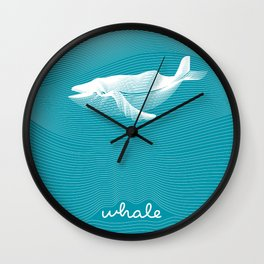 Op art vector moire whale with waving curling lines. Wall Clock