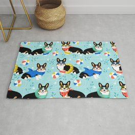 Corgi tri colored corgis pool party dog breed cute custom pet portrait by pet friendly Rug