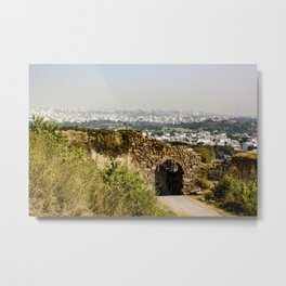 Looking at Downtown Hyderabad from Behind an Ancient Stone Wall in India Metal Print