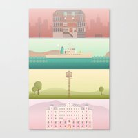wes anderson Canvas Prints featuring A Wes Anderson Collection by George Townley