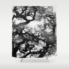 Tree of Japan (black and white edit) Shower Curtain