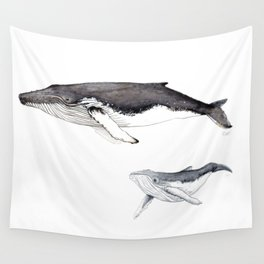 North Atlantic Humpback whale with calf Wall Tapestry