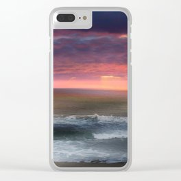 The Tide Rises ~ The Tide Falls ~ Sunset Clouds Clear iPhone Case