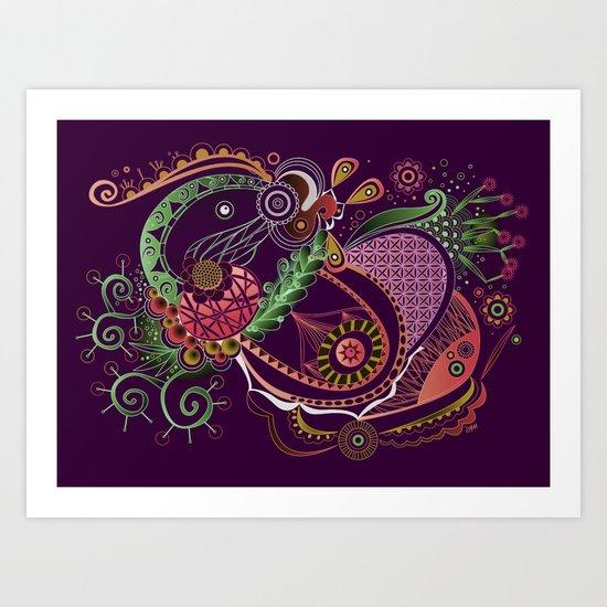 Spring tangle night Art Print
