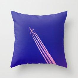 Deep Blue Sky and Plane Throw Pillow