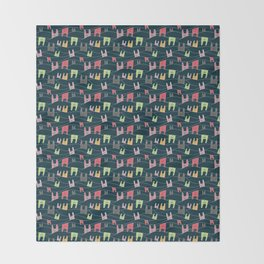 Colorful bunnies on navy background Throw Blanket