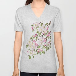 botanical pink apple blossom flowers watercolor Unisex V-Neck