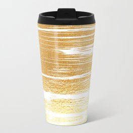 Abstract faux gold white modern paint brushstrokes Travel Mug