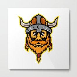 Viking Warrior or Norse Raider Head Mascot Metal Print