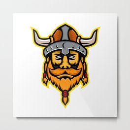Viking Warrior or Norse Raider Head Mascot Metal Print
