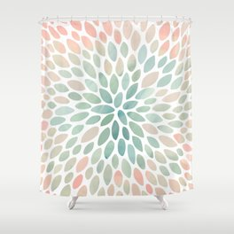 Floral Bloom, Abstract Watercolor, Coral, Peach, Green, Floral Prints Shower Curtain