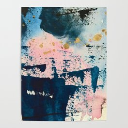Candyland: a vibrant, colorful abstract piece in blue teal pink and gold by Alyssa Hamilton Art Poster