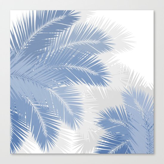 BLUE TROPICAL PALM TREES Canvas Print