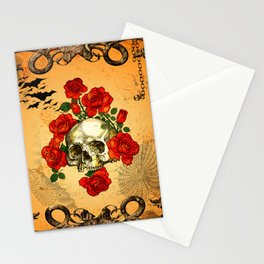 Skull with roses Stationery Cards