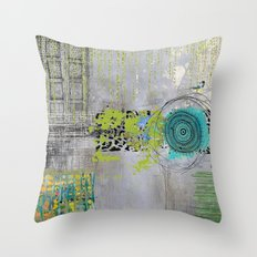Teal & Lime Round Abstract Art Collage Throw Pillow