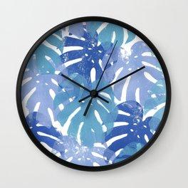 Monstera deliciosa | Blue Palette Wall Clock
