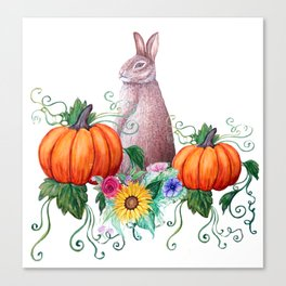 Rabbit, pumpkins , sunflowers in watercolor Canvas Print