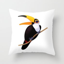 Exotic toucan. Vector graphic character Throw Pillow