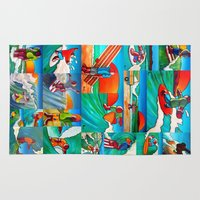surfing Area & Throw Rugs featuring Surfing by Ollie Longuet