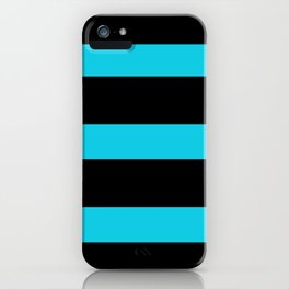 Hollywood Nights Black and Teal Stripes iPhone Case