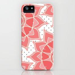 Coral ivory floral mandala black white polka dots iPhone Case