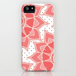 Coral ivory floral mandala black white polka dots iPhone Case