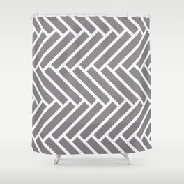 Gray and white herringbone pattern Shower Curtain