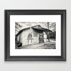 Black & White/Sepia-toned Photograph of Cheatham Street Warehouse, San Marcos, Texas Framed Art Print