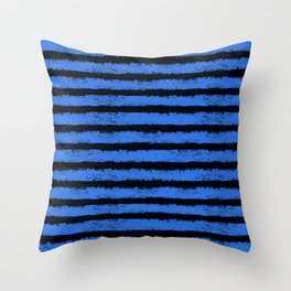 blue and black splatter stripes Throw Pillow