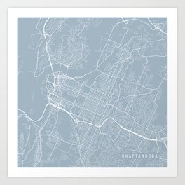 Chattanooga Map, USA - Slate Art Print