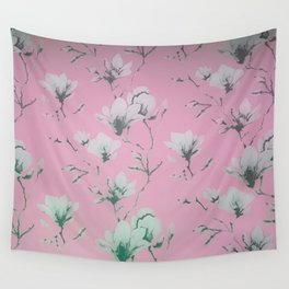 Floral Wallpaper Pink Wall Tapestry