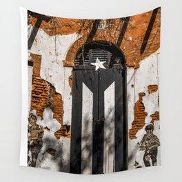 Puerto Rico Black flag Wall Tapestry