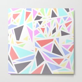Multi Colored Geometric Triangles White Outline Metal Print