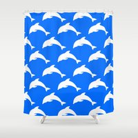 dolphins Shower Curtains featuring Dolphins by The Wellington Boot