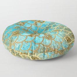 Aqua Teal & Gold Glitter MermaidScales - Mermaid Scales And Sea Foam Floor Pillow
