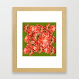 Peppermint Color Amaryllis Flower Avocado Pattern Framed Art Print