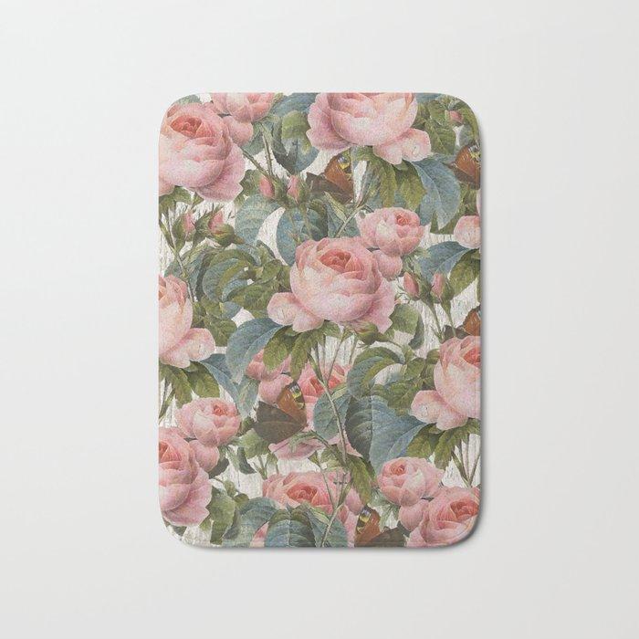 Floral roses pattern Bath Mat