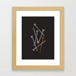 Bobby Pins on Black Framed Art Print
