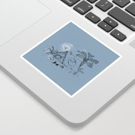 Camping in nature ink illustration Sticker