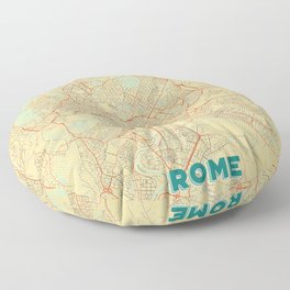 Rome Map Retro Floor Pillow