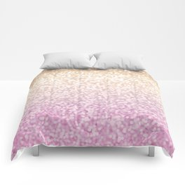 Champagne Gold and Pink Glitter Ombre Comforters