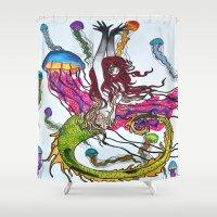 siren Shower Curtains featuring Siren by Labartwurx