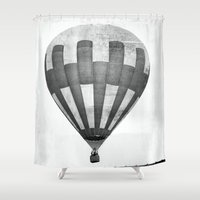 hot air balloon Shower Curtains featuring Hot Air Balloon by Rose Etiennette