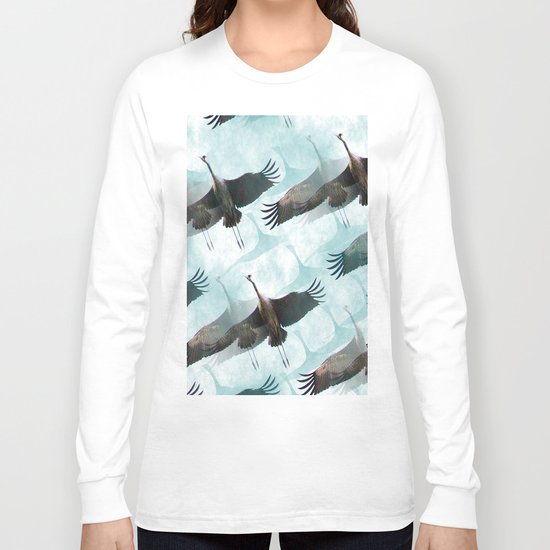 Abstract Whooping Cranes Long Sleeve T-shirt