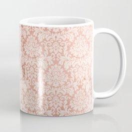 Vintage white faux rose gold elegant floral damask Coffee Mug